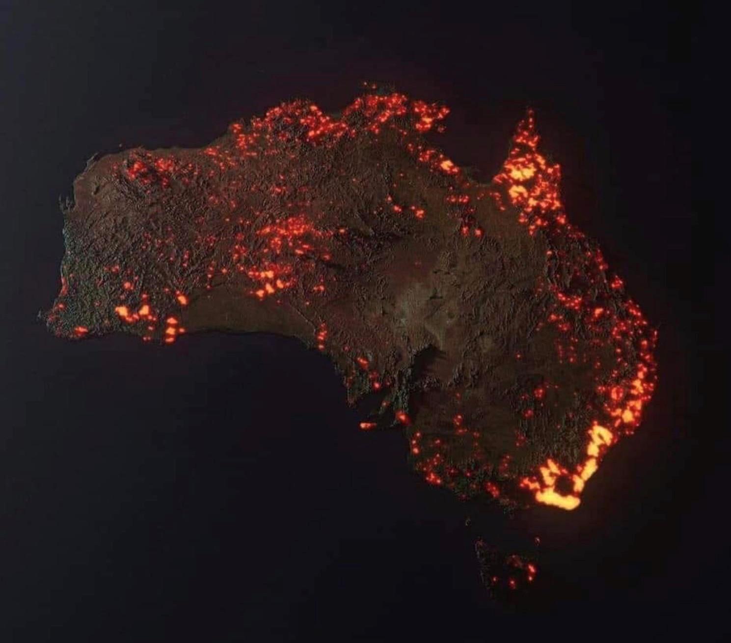 işte uzaydan görülebilen Avustralya yangını