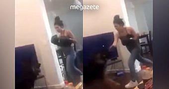 Köpeğini boks eldivenleriyle yumruklayan kadın!